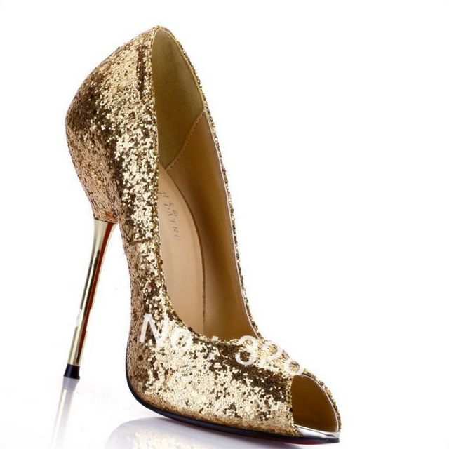 high heel champagne wedding shoes