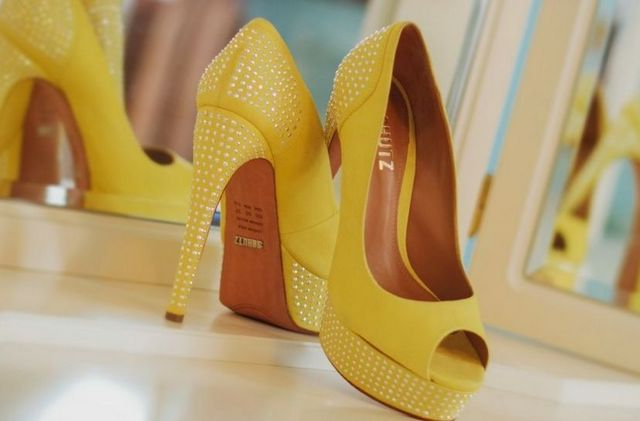 high heel wedding shoes yellow