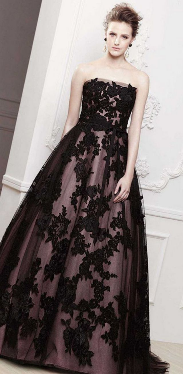 lace black wedding dresses