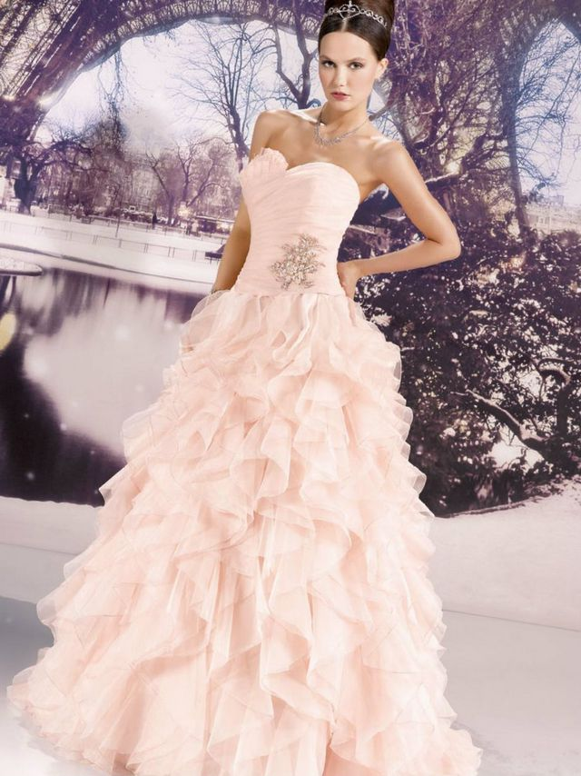 lace pink wedding dress image