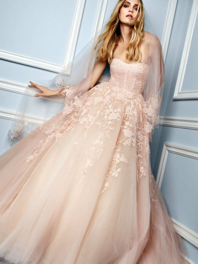 lace pink wedding dresses