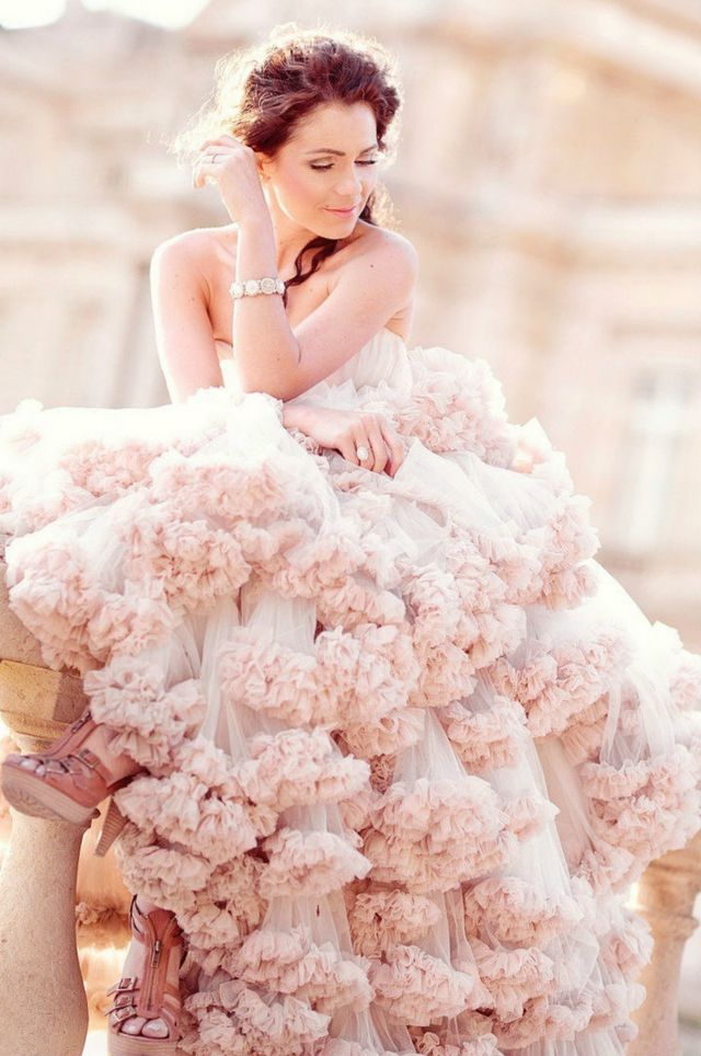 lace pink wedding gown