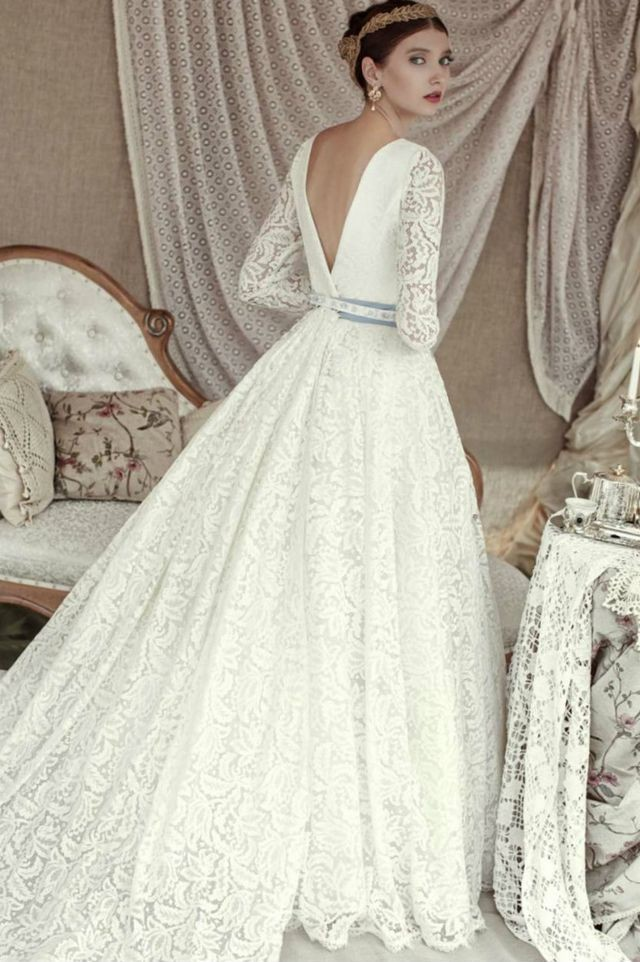 lace puffy wedding dresses photo