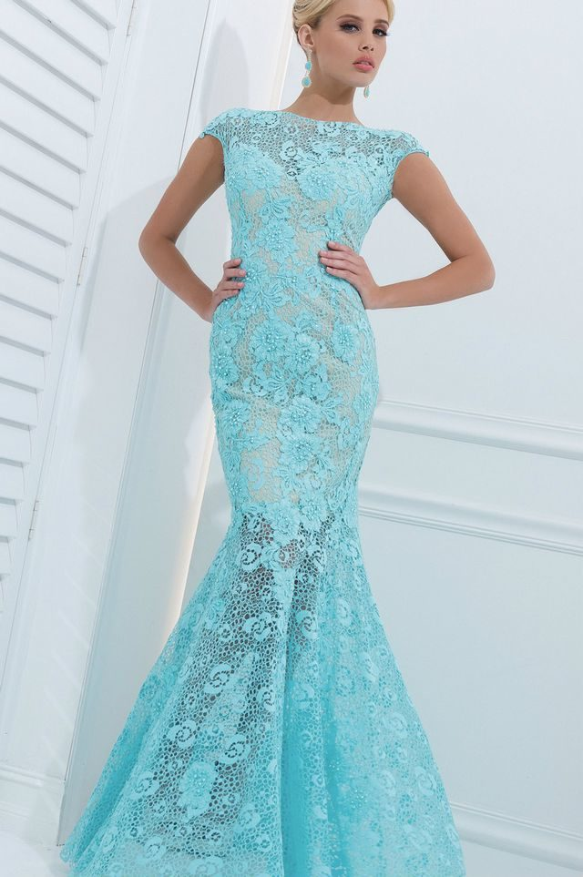 lace turquoise wedding dresses