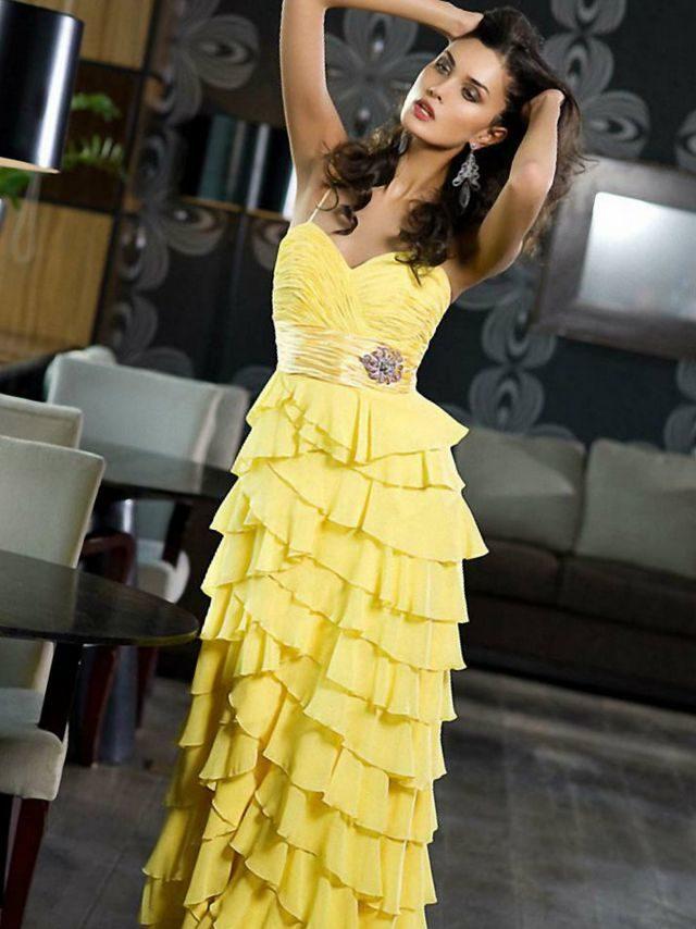 lace yellow wedding dresses