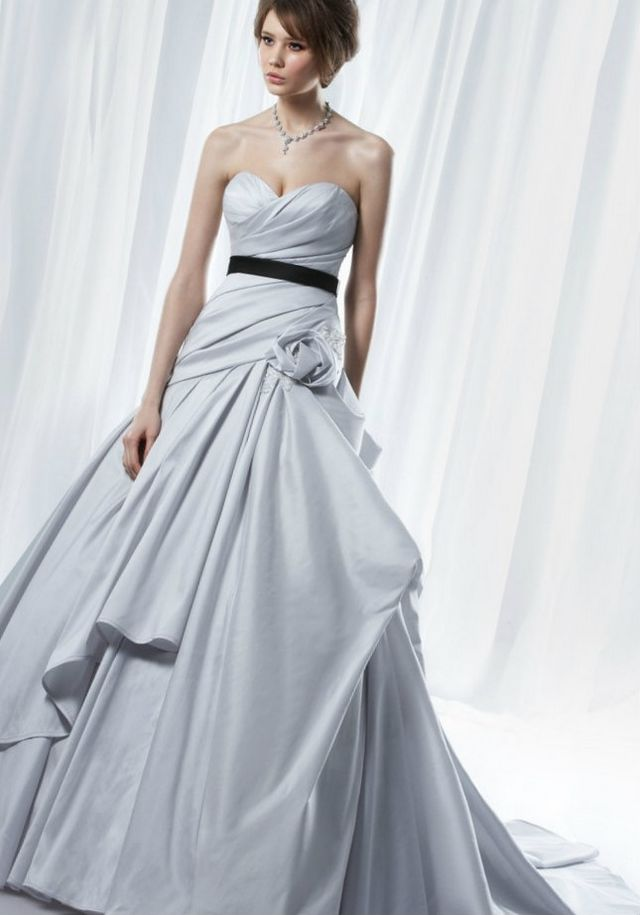 light grey wedding dress