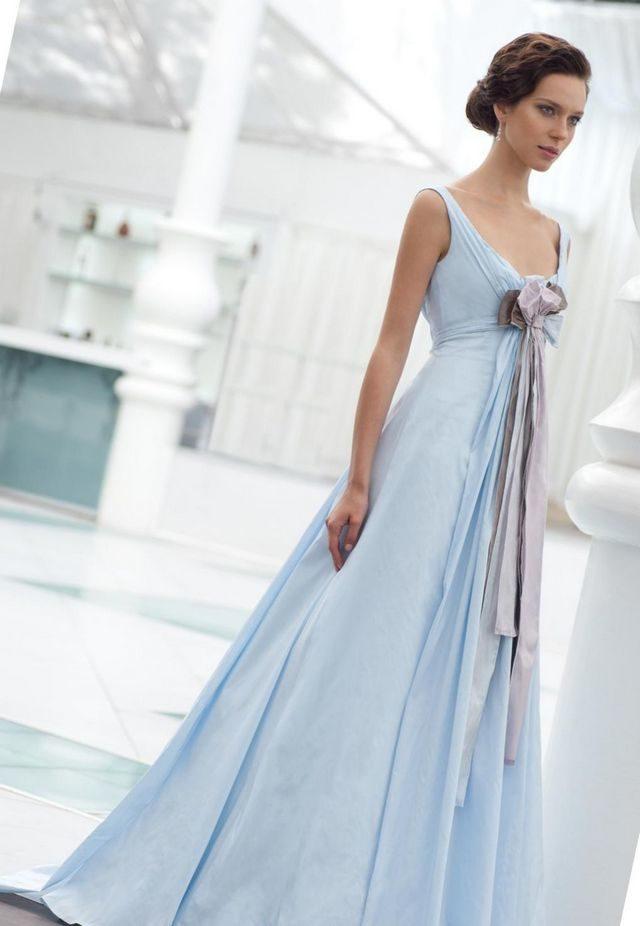 long blue wedding dress