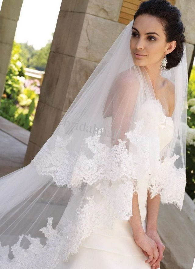 long bridal veils with lace and crystals