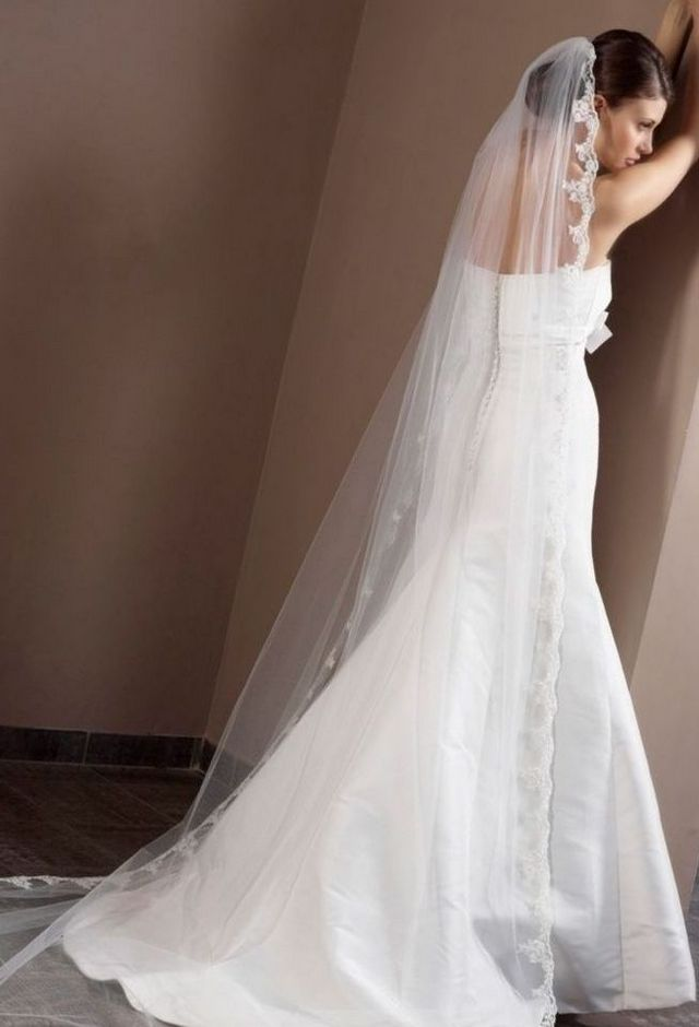 long bridal veils with lace edging