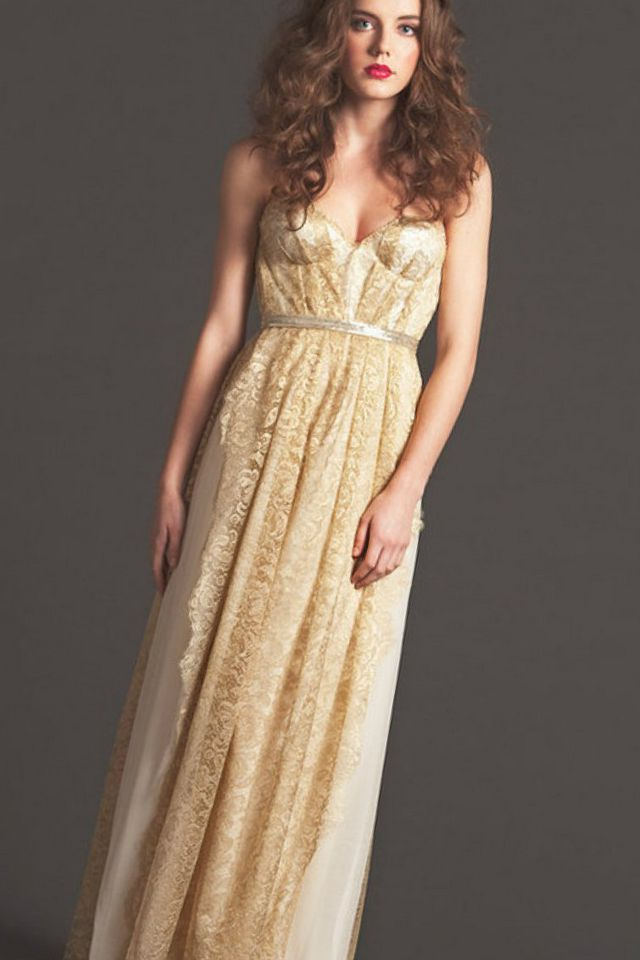 long gold wedding dress