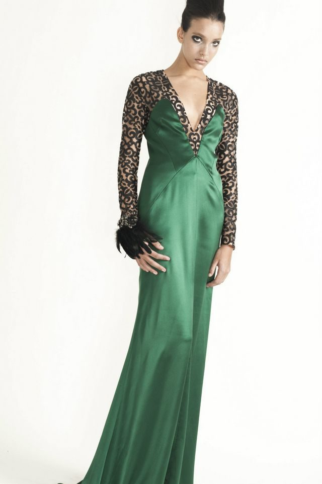 long green wedding dress