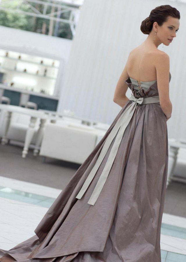 long grey wedding dress