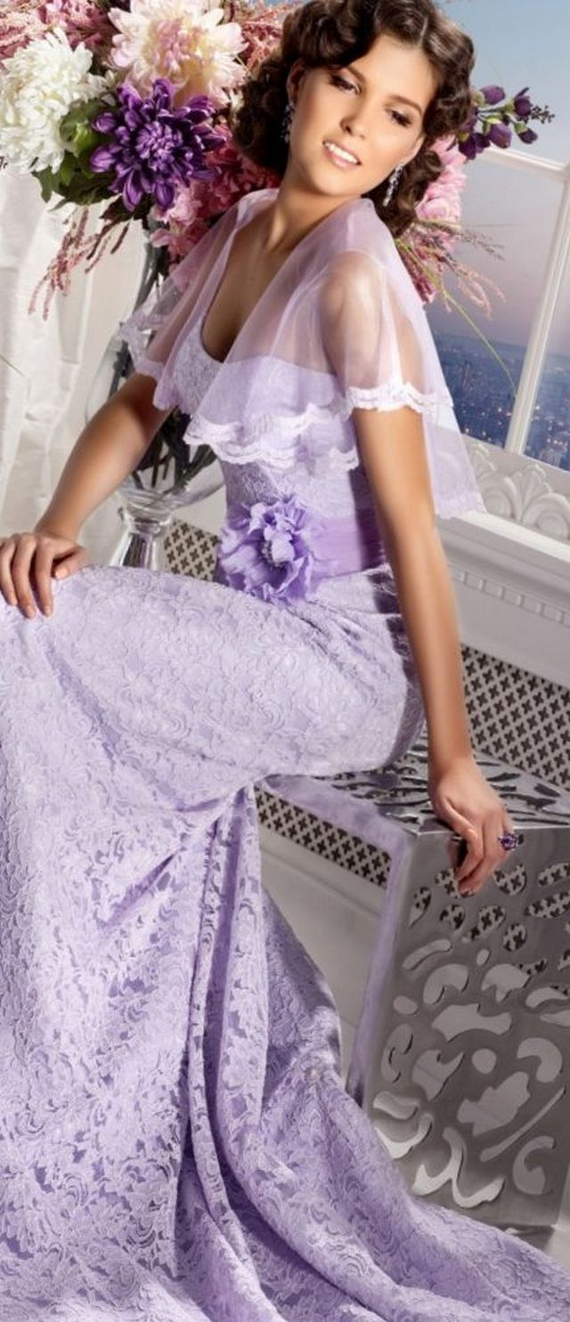 long lilac wedding gown