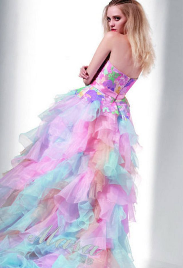 long neon wedding dress