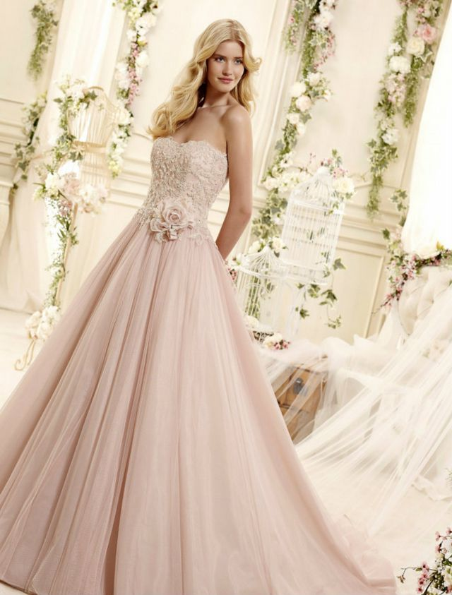 long pink wedding dress