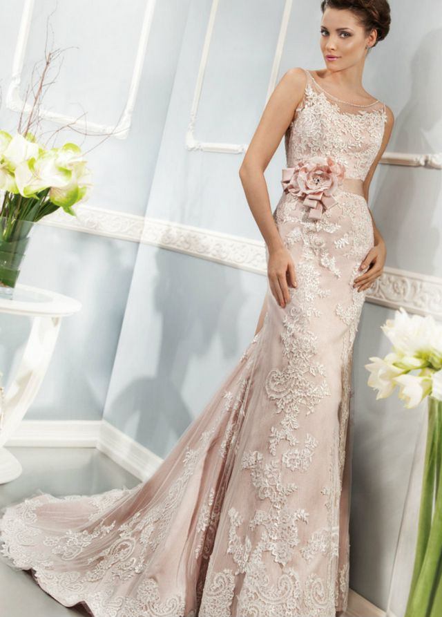 long pink wedding gown