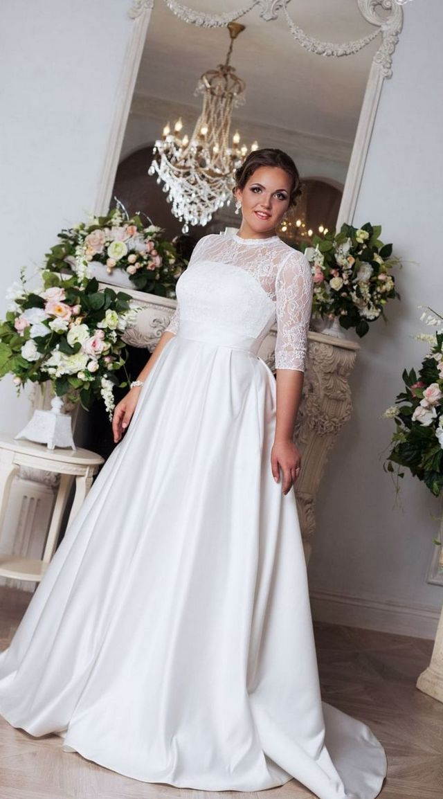 long sleeve wedding dresses plus size cheap