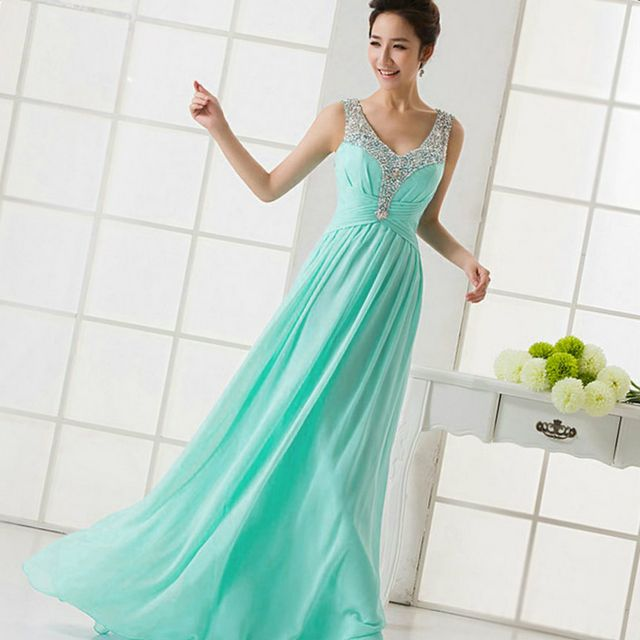 long turquoise bridal gown image