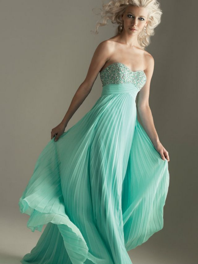 long turquoise wedding gown