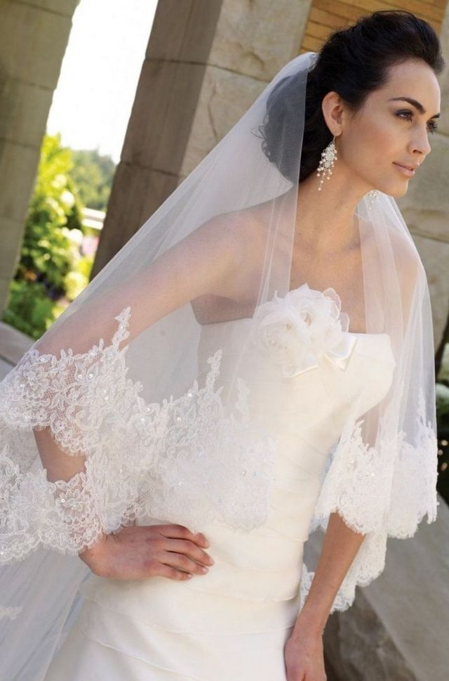 long wedding veils with crystals cathedral