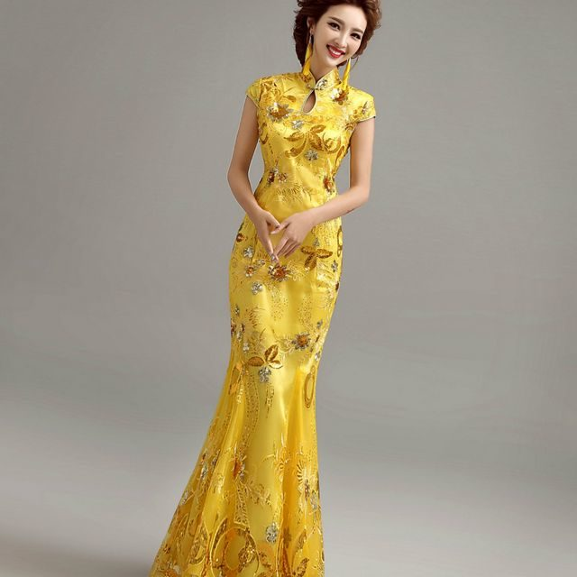 long yellow wedding dresses