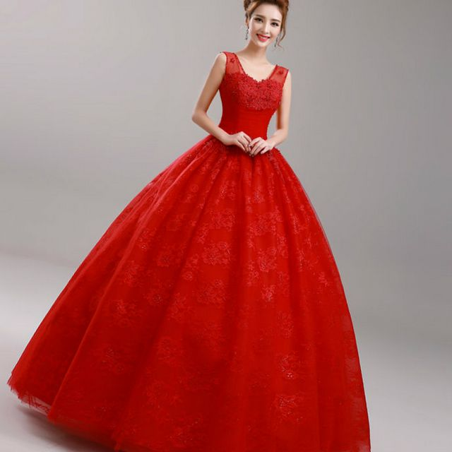 magnificent red wedding dress