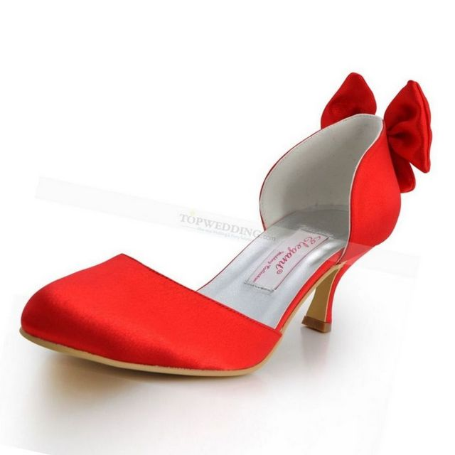 medium high heel red wedding shoes
