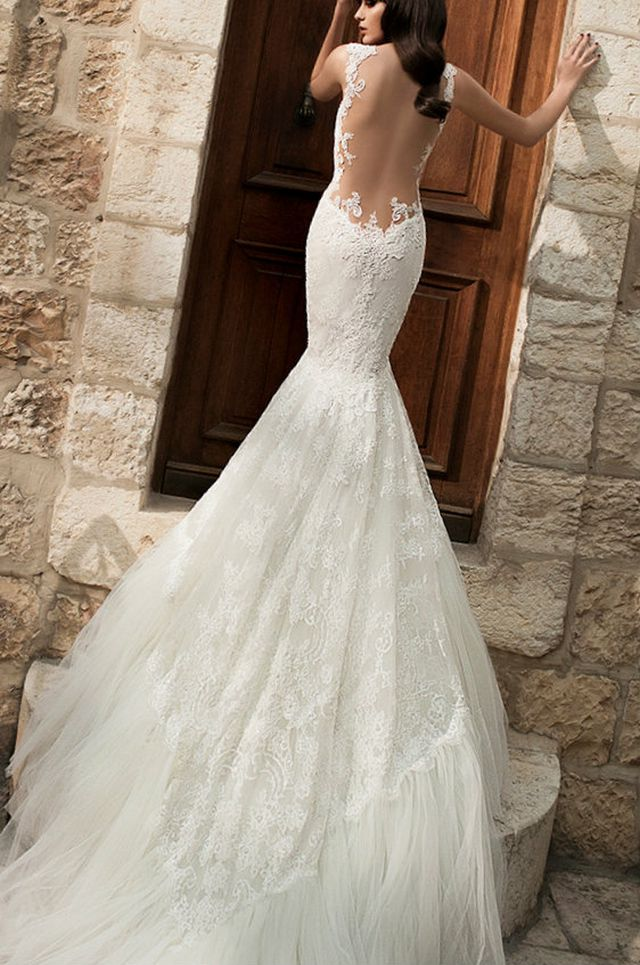 mermaid wedding dresses with long trains photo