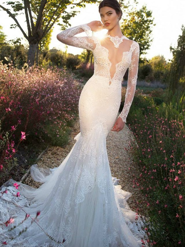 mermaid wedding gowns with long trains