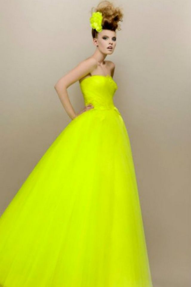 neon wedding dress photo
