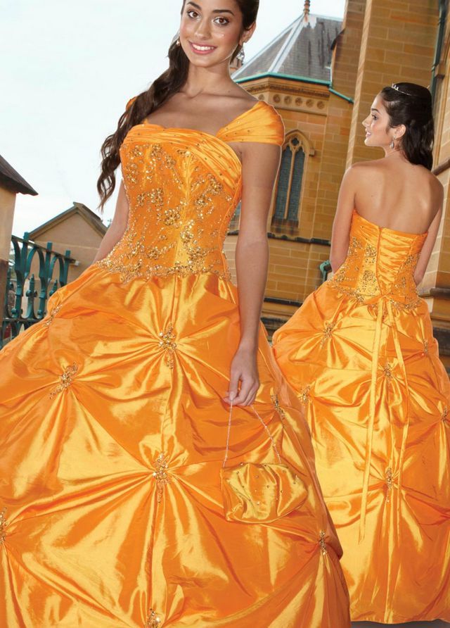 orange and camo bridal gowns photo