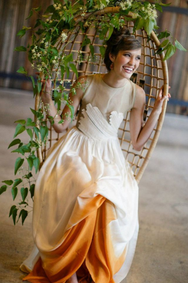 orange and white bridal dress image