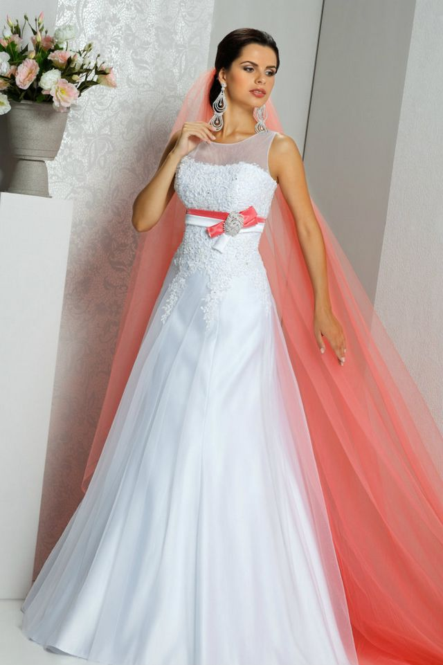 Orange And White Bridal Dresses