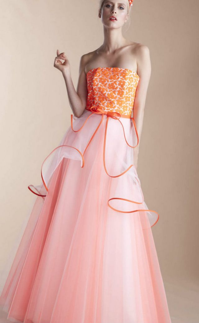 orange and white wedding dresses