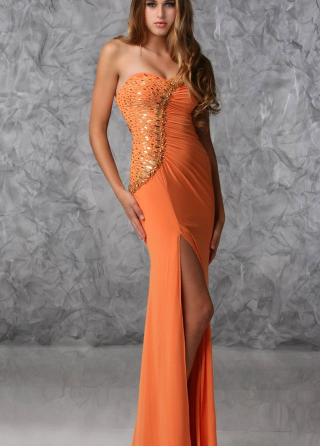 orange bridal dress