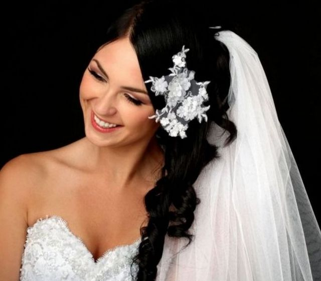 pictures of wedding hairstyles for long veil