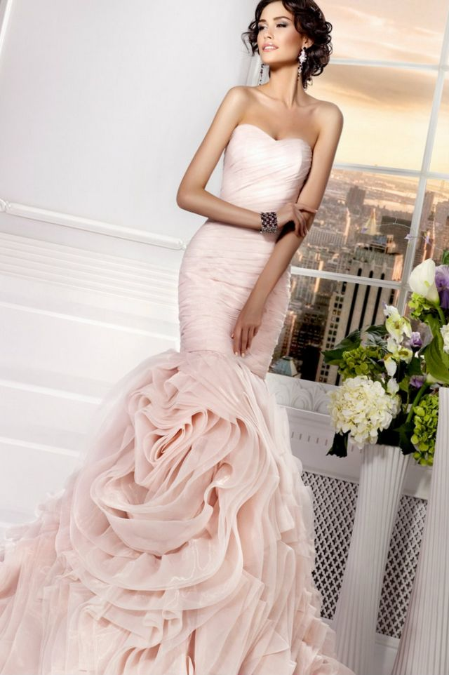 pink and white bridal dress