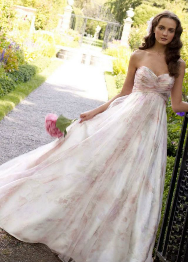 pink and white wedding dress