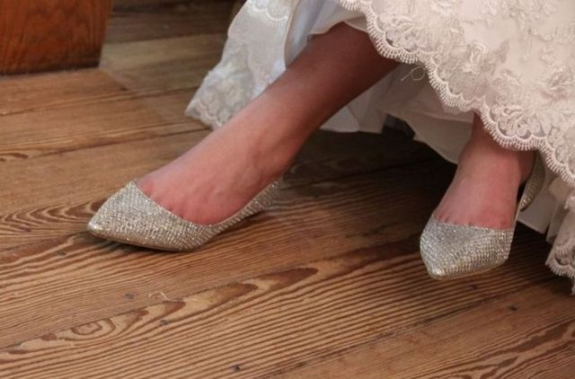 pink and silver ballet flats wedding