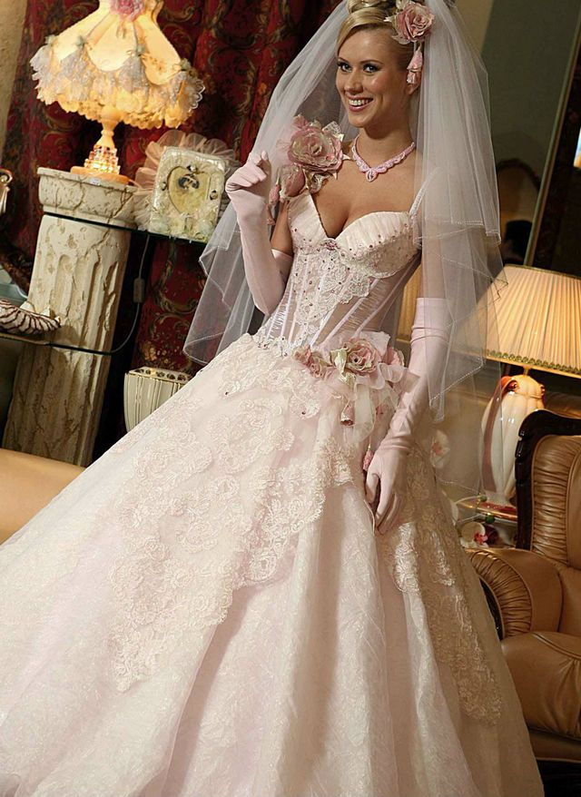 pink bridal dress with veil image