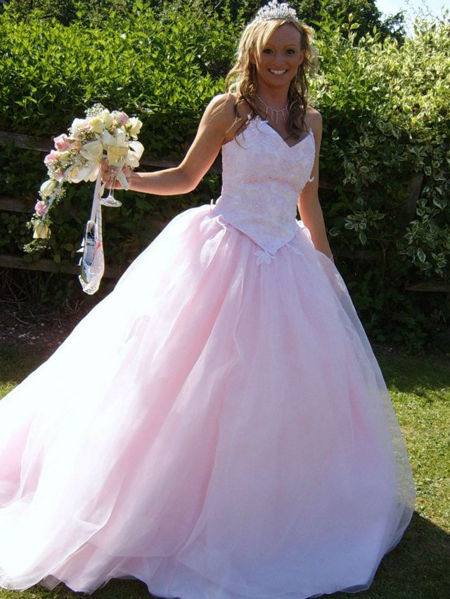 pink bridal gown photo
