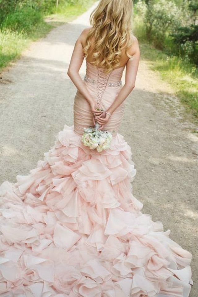 pink bridal gown with train