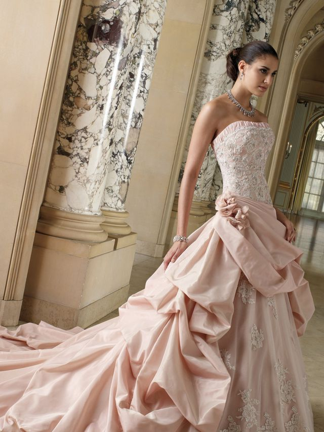 pink lace wedding dress with train