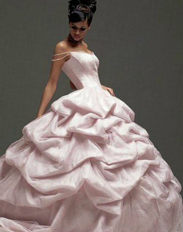 pink puffy wedding dresses