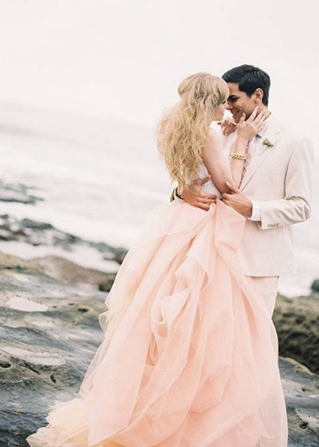 pink wedding dress photo