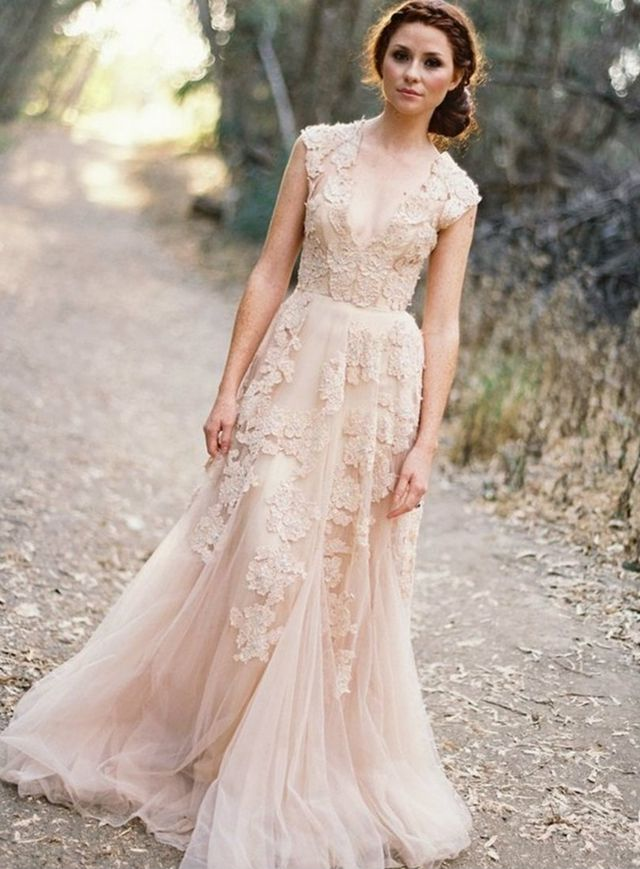 pink wedding dress picture