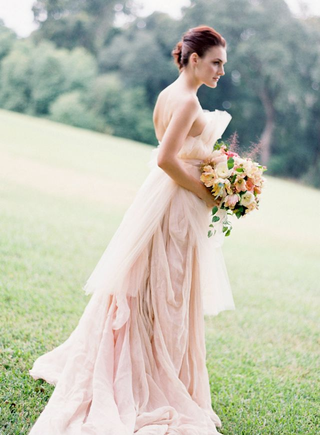 pink wedding dress with train