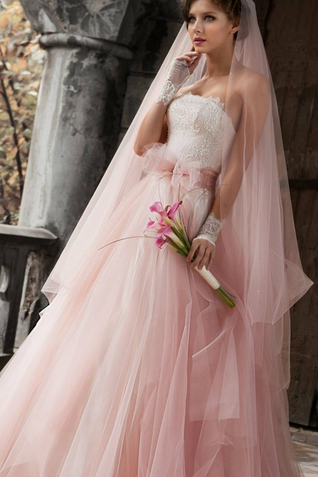 pink wedding dress with veil