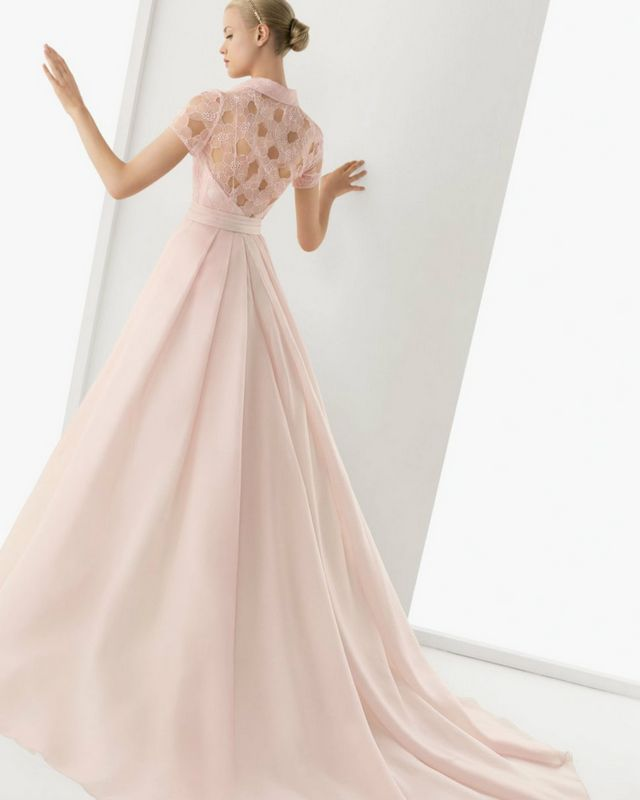 pink wedding gown with train
