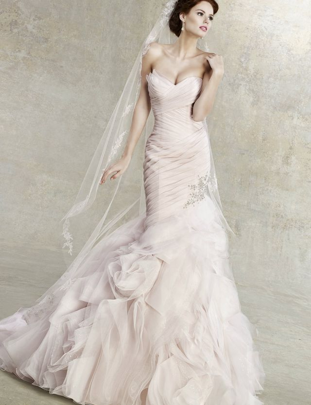 pink wedding gown with veil